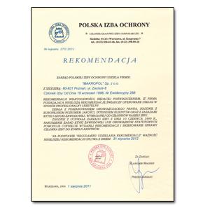 Rekomendacja Polska Izba Ochrony